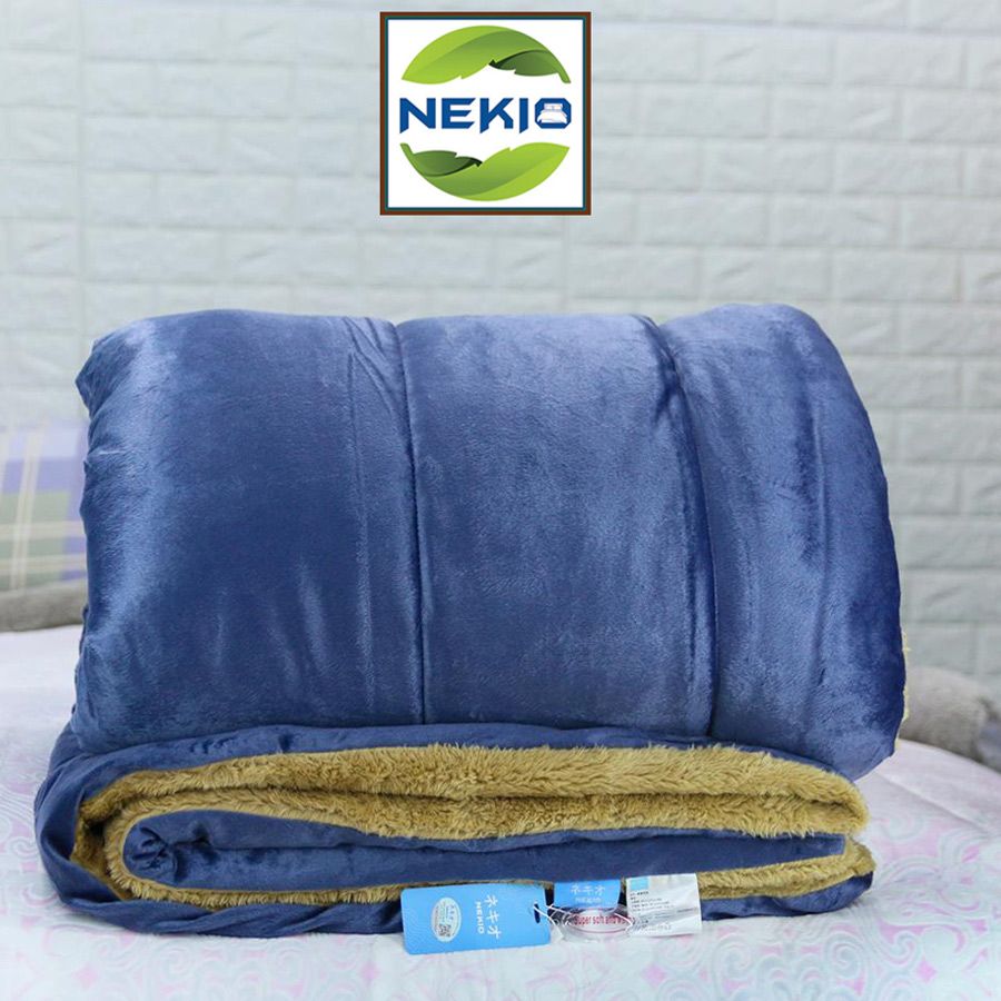 Chăn lông cừu Nekio Nhật Bản xanh Navy